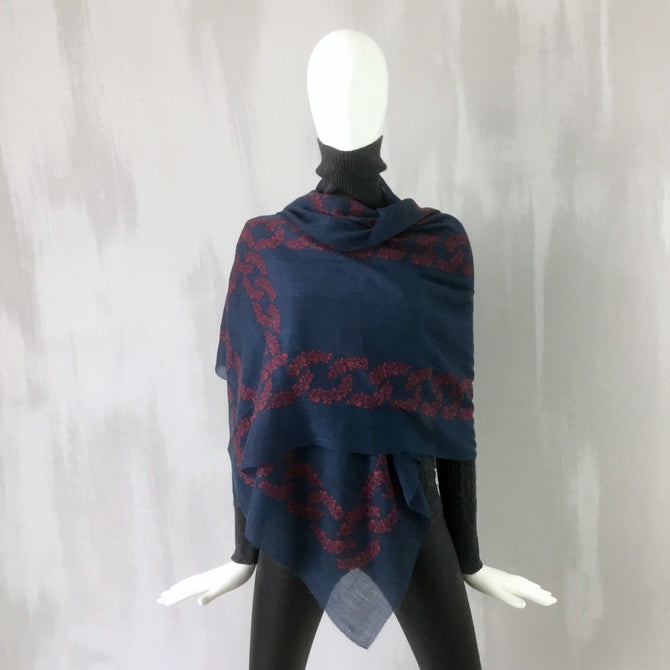 Chanel PURE CASHMERE Navy Red Camellia CC Logo Long Large XL Shawl Wrap Scarf