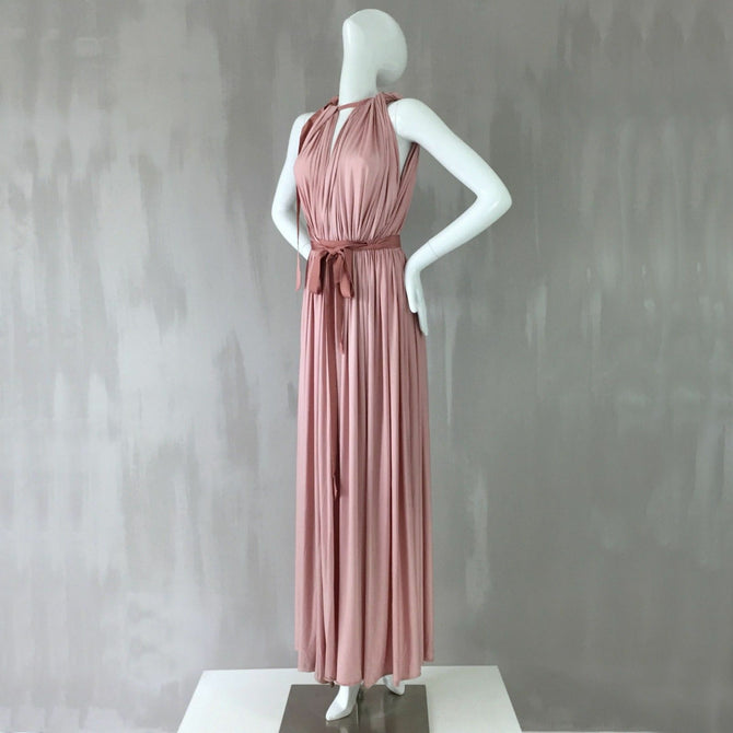 $4550 Lanvin Grecian Pink Satin Wedding Long Maxi Dress Evening Gown 34 US 0 2