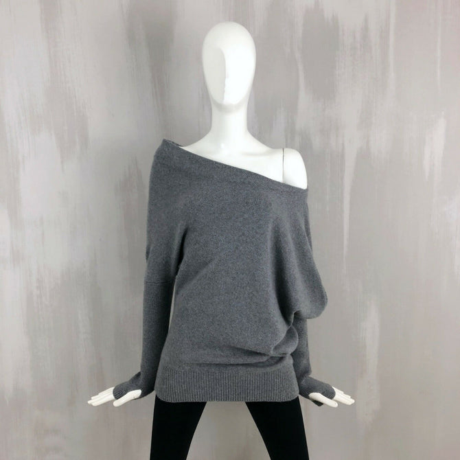 $1750 Tom Ford Women CASHMERE Off Shoulder Asymmetrical Oversized Sweater Top S