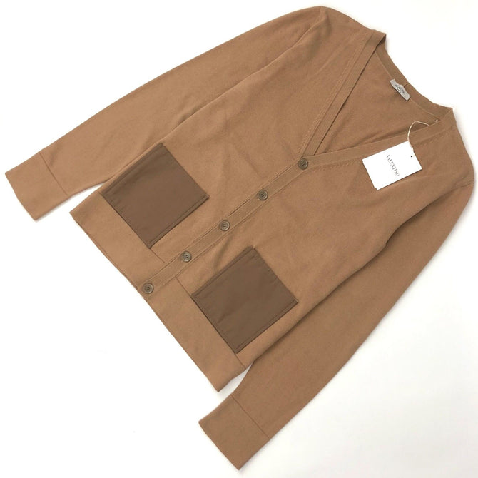 $550 NEW Valentino Mainline Men Camel Cotton Patch Pocket Jacket Cardigan 48 M
