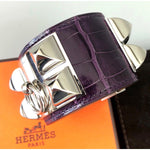 RARE Hermes Collier de Chien CDC MEDOR Purple CROC ALLIGATOR Leather Bracelet
