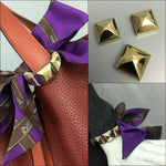 Hermes Gold Plated 3 Piece Pyramid Medor Stud Twilly Scarf Ring for Bracelet Bag