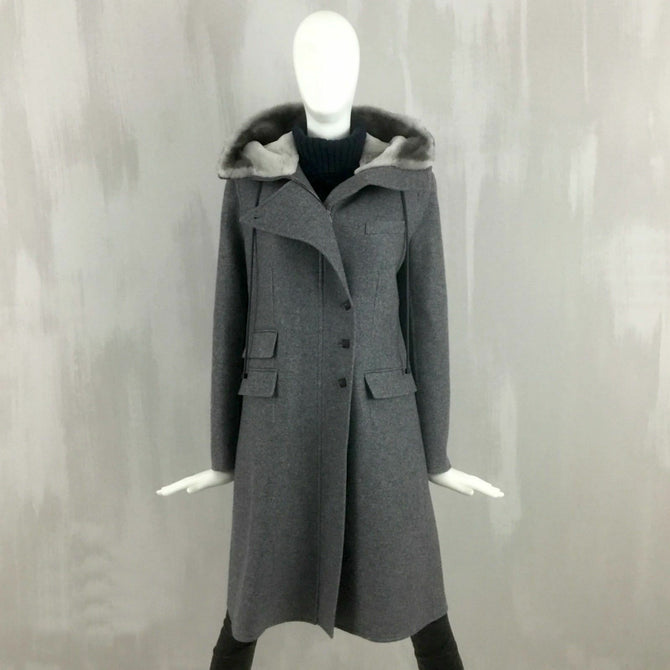 RARE Hermes Women MINK Fur Hood Pure CASHMERE Long Winter Duffle Coat Size M US6