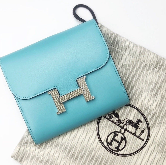 $3800 NEW Hermes Blue Atoll Leather LIZARD CONSTANCE Wallet Purse Clutch Bag