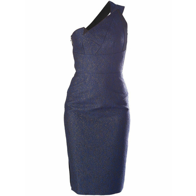 $2500 Roland Mouret Aglais Blue Black Cocktail Evening Dress Size UK 8 US 4