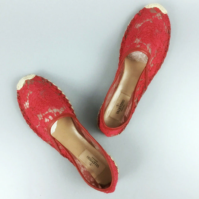 $480 NEW Valentino Red Silk LACE Espadrilles Flat Summer Shoe Loafer Size 38 US8