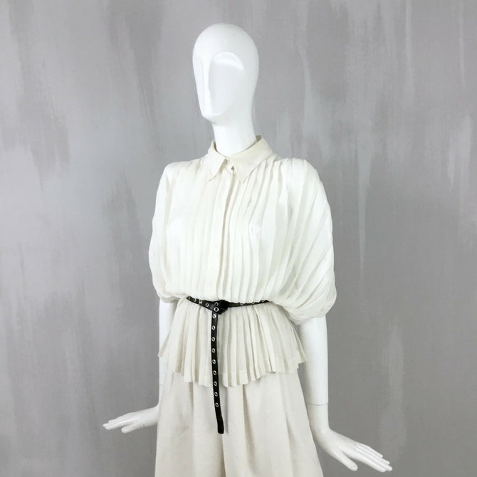 Hermes Women Ivory White Pleated Silk Summer Blouse Shirt Top Size S FR38 US 2 4