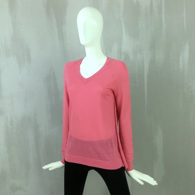 $735 Roland Mouret Ladies Pink CASHMERE Open Draped Back Jumper Sweater Pullover