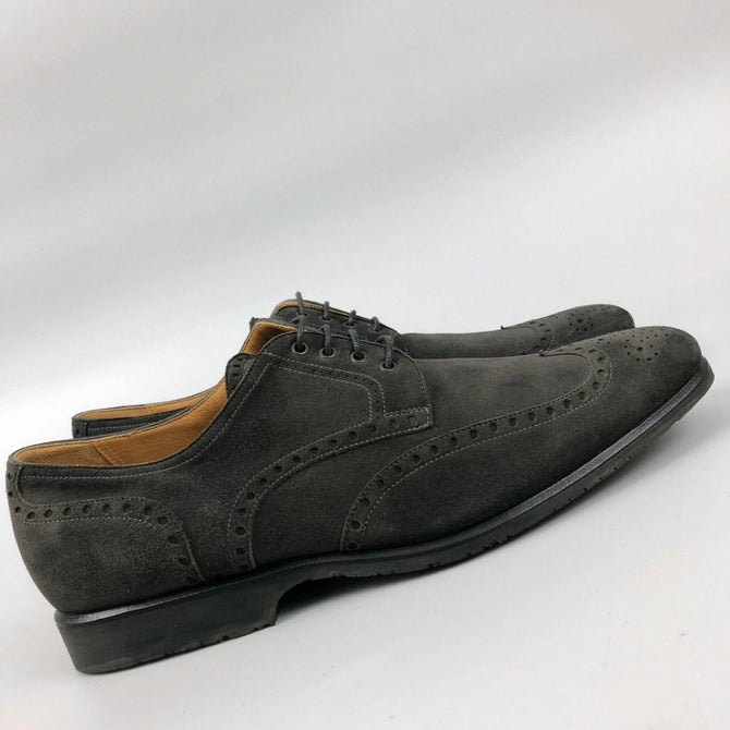 Hermes Men Formal Khaki Brown Suede Leather Lace Up Brogue Shoe Size 42 US9 UK 8