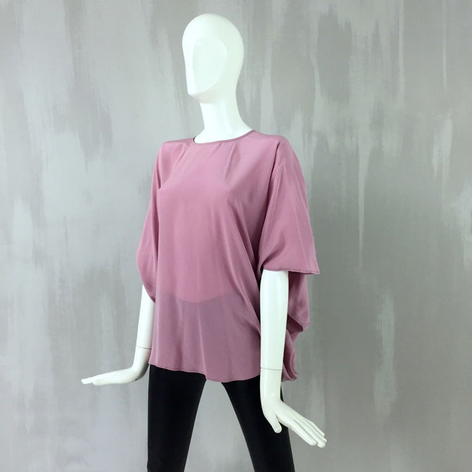 NEW Hermes Dusty Pink DRAPED BACK Oversize Silk Top Blouse Shirt Top Size XS 34