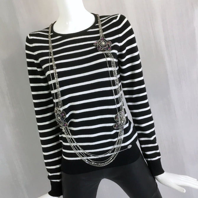 CHANEL CASHMERE Long Chain Necklace Black White Stripe Breton Jumper Sweater 38