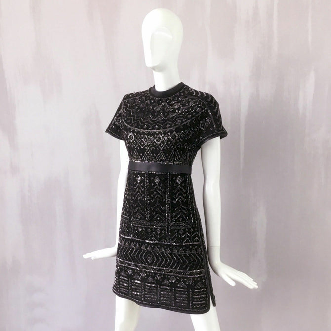 $9300 Valentino Silver Sequin Black Cocktail Evening Short Mini Dress Size 40