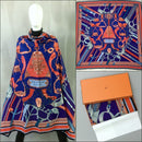 RARE Auth Hermes Purple Orange Duo d'Etriers CASHMERE SILK 140 XL Shawl Scarf