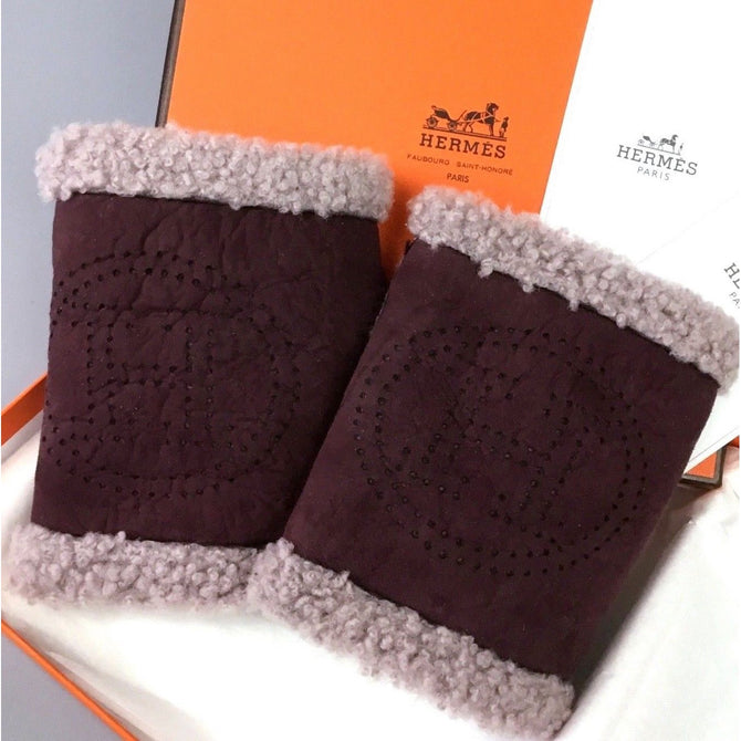NEW RARE Hermes Ladies Purple H LOGO ORAN Sheepskin Mitten Gloves Size S M 6.5