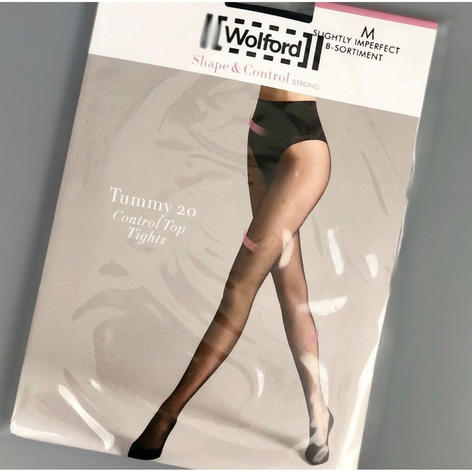 NEW Wolford Individual TUMMY Denier 20 CONTROL Top Tights Nearly Black Size M