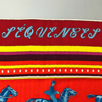 Hermes Red Turquoise Horses SEQUENCES CASHMERE SILK 140cm XL Shawl Scarf Stole