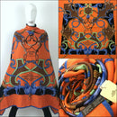 "Hermes Orange L'Instruction du Roy CASHMERE SILK 140cm 55"" XL Shawl Scarf Stole"