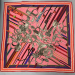 Auth Hermes Concours d'Etriers Pink Orange CASHMERE SILK Extra Large Shawl Scarf