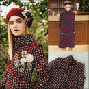 NEW $5000 Chanel Burgundy Fantasy Wool Tweed CC Button Coat Dress Size S FR36