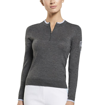 ZIPPED CREW SWEATER
