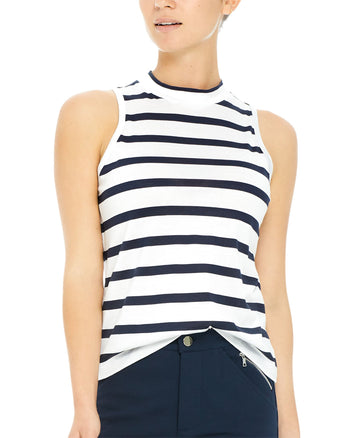 STRIPED SLEEVELESS MOCK