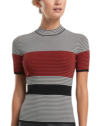 COLOUR BLOCK STRIPED MOCK