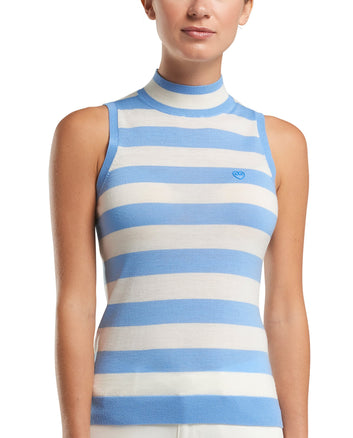 SLEEVELESS STRIPED MOCK