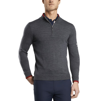 TIPPED QUARTER ZIP SWEATER