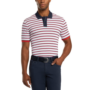 PERFORATED MULTI STRIPE POLO