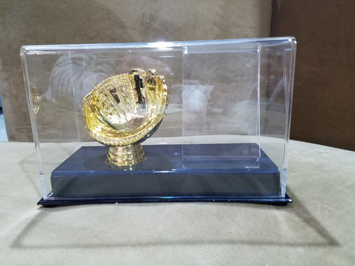 Single Gold Glove Baseball Holder with Card Holder Display Case