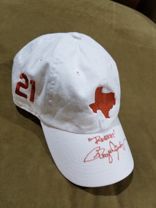 "University of Texas White Cap, Burnt Orange State of TX and 21 with ""Rocket"""