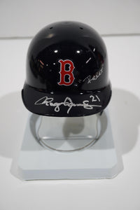 "Boston Red Sox mini helmet with ""Rocket"" and 21"