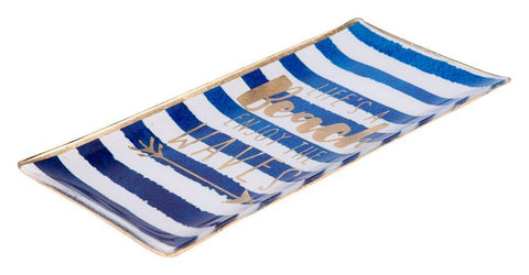 GIFTCOMPANY Tablett GIFTCOMPANY Beach Waves Tablett blau weiß gestreift