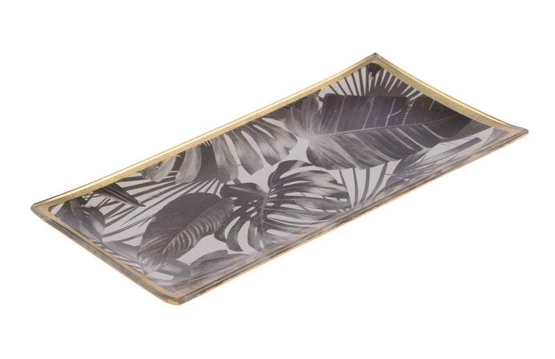 GIFTCOMPANY Black Leaves Tablett