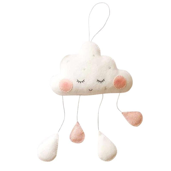 LaLe Living Mobile Wolke mit Gesicht in Rosa/Weiß