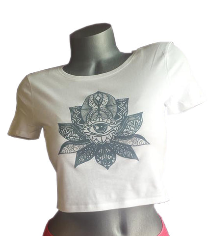 lotus eye esoteric white crop top womens