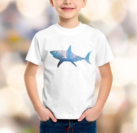 white shark t-shirt boys galaxy design