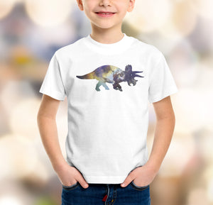 white t-shirt boys with triceratops dinosaur design