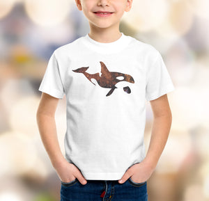 orca whale with galaxy boys t-shirt