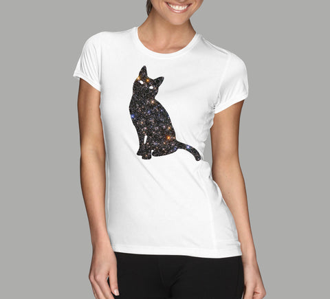 cat space galaxy design on white ladies t-shirt