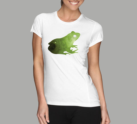 galaxy frog on white ladies t-shirt