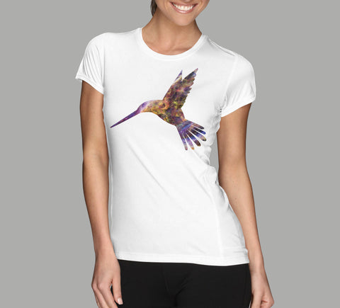 hummingbird galaxy cool design white ladies shirt