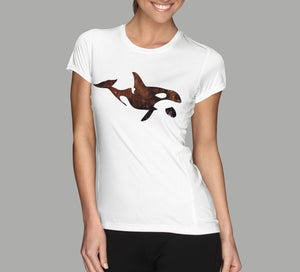 killer whale galaxy design ladies white t-shirt