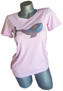 womens lavender abstract whale shirt