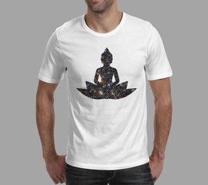 meditating lotus man galaxy overlay t-shirt white
