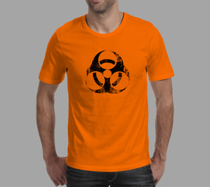 orange biohazard nuclear design on mens t-shirt