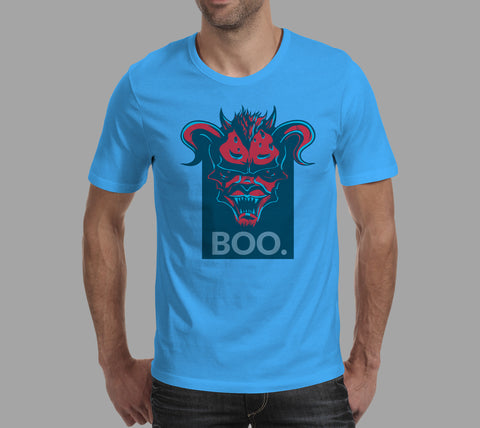 mens blue boo! scary devil t-shirt design