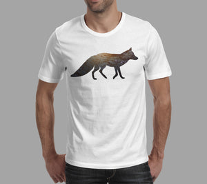 fox galaxy design on white mens t-shirt