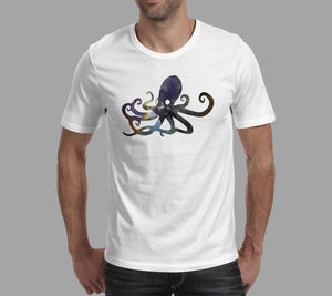 mens squid octopus galaxy design on white t-shirt
