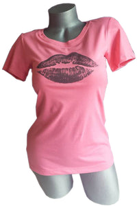 fun lips kiss design pink shirt womens